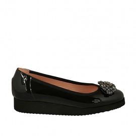 Zapato de salon con piedras para mujer en charol negro cuña 2 - Tallas disponibles:  32, 33, 34, 43, 44
