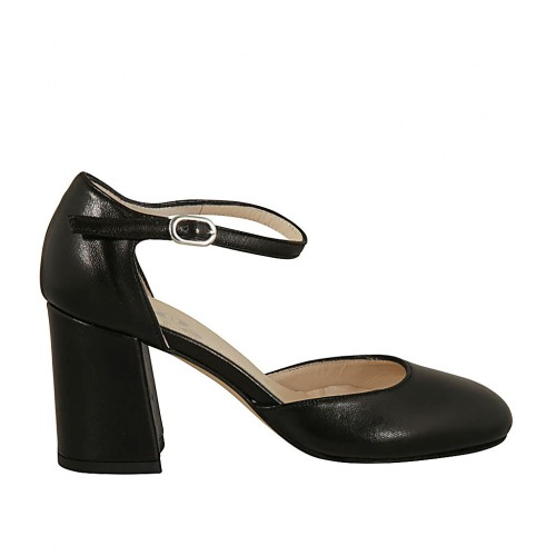 Woman's open shoe with strap in black leather block heel 7 - Available sizes:  42