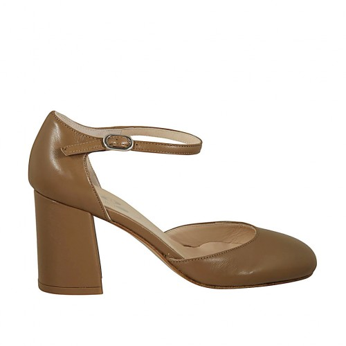 Woman's open shoe with strap in beige leather heel 7 - Available sizes:  45