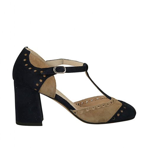 Woman's open T-strap shoe in dark blue and beige suede heel 7 - Available sizes:  42, 45