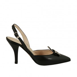 Woman's slingback pump with accessory in black leather heel 9 - Available sizes:  32, 33, 42, 45