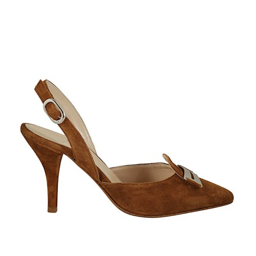 Woman's slingback pump with accessory in tobacco suede heel 9 - Available sizes:  32, 42
