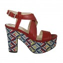 Woman's highfronted sandal with multicolored optical platform in red leather heel 10
