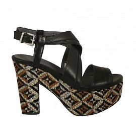 Woman's sandal with multicolored optical platform in black leather heel 10 - Available sizes:  32, 33, 34, 42, 43, 44, 45, 46