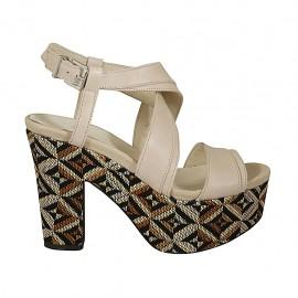 Sandalo con plateau in pelle nude con zeppa rivestita multicolore effetto optical tacco 10 - Misure disponibili: 32, 33, 34, 42, 43, 44, 45, 46