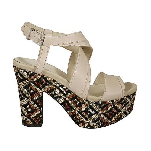 Woman's sandal with multicolored optical platform in nude leather heel 10 - Available sizes:  42, 43