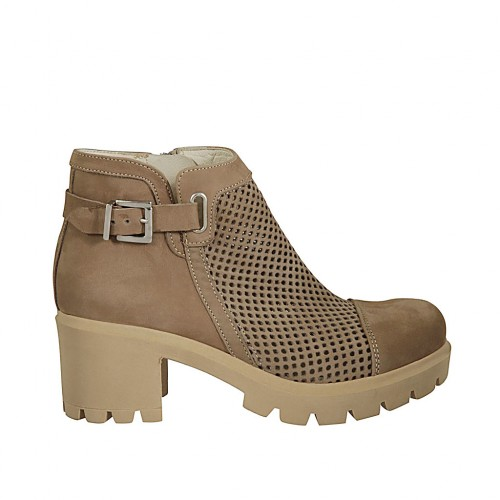 Woman's ankle boot with zipper and buckle in taupe nubuk and pierced nubuk leather heel 6 - Available sizes:  44