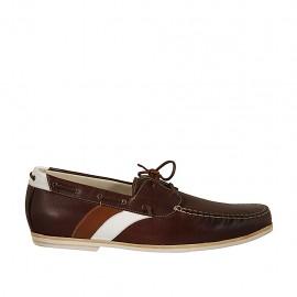 Mocassin sportif pour hommes avec lacets en cuir marron, brun et blanc - Pointures disponibles:  47, 48, 49, 51, 52
