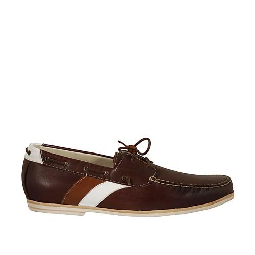 Mocassin sportif pour hommes avec lacets en cuir marron, brun et blanc - Pointures disponibles:  47, 48, 52