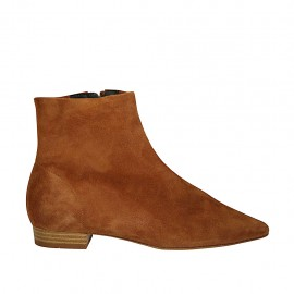 Woman's pointy ankle boot with zipper in tan-colored suede heel 2 - Available sizes:  34, 43, 44