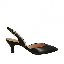 Chanel pour femmes en cuir noir talon 6 - Pointures disponibles:  45