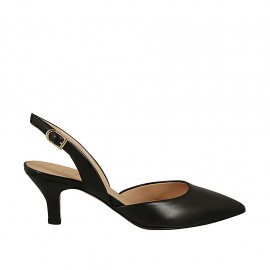 Woman's slingback pump in black leather heel 6 - Available sizes:  33, 42, 43, 45