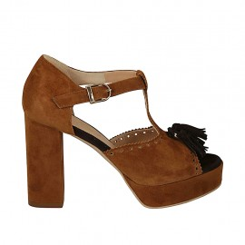 Woman's open shoe with strap, tassel and platform in tan and brown suede heel 9 - Available sizes:  42, 43, 44, 45
