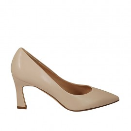 Woman's pointy pump in nude leather heel 7 - Available sizes:  32, 45, 46
