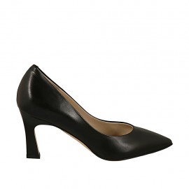 Women's pointy pump in black leather heel 7 - Available sizes:  32, 33, 43, 46