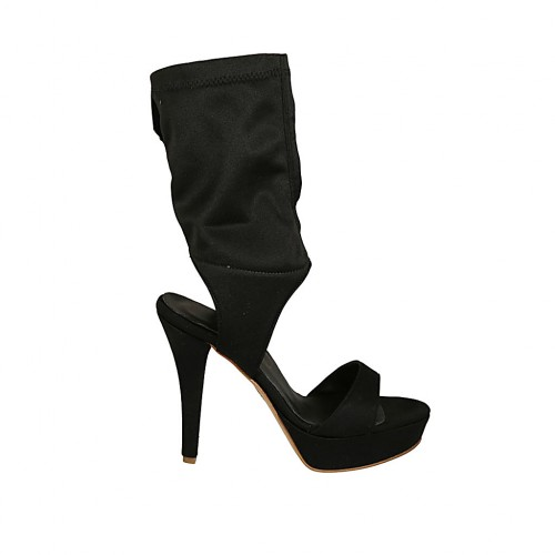 Woman's sandal with platform in black elastic fabric heel 11 - Available sizes:  34, 42, 43, 46