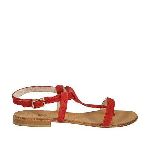 Woman's thong sandal in coral red suede heel 1 - Available sizes:  46, 47