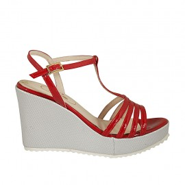 Woman's T-strap sandal in red patent leather and silver laminated fabric with platform and wedge heel 8 - Available sizes:  32, 34