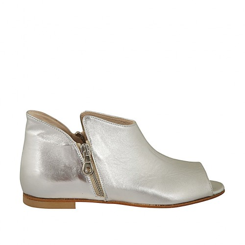 Woman's open shoe with zippers in silver laminated leather heel 1 - Available sizes:  33, 42, 43, 45