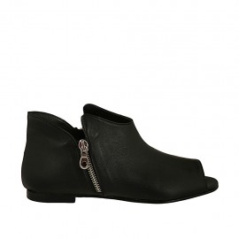 Woman's open shoe with zippers in black leather heel 1 - Available sizes:  33, 34, 42, 45, 47