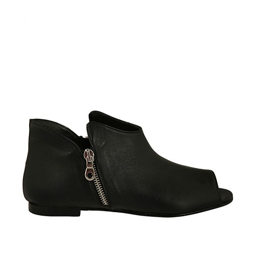 Woman's open shoe with zippers in black leather heel 1 - Available sizes:  33, 34, 42