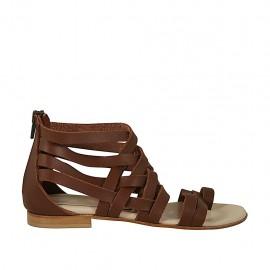 d51434ff6edac3 Chaussure ouvert entredoigt pour femmes avec fermeture èclair en cuir  marron talon 1 - Pointures disponibles