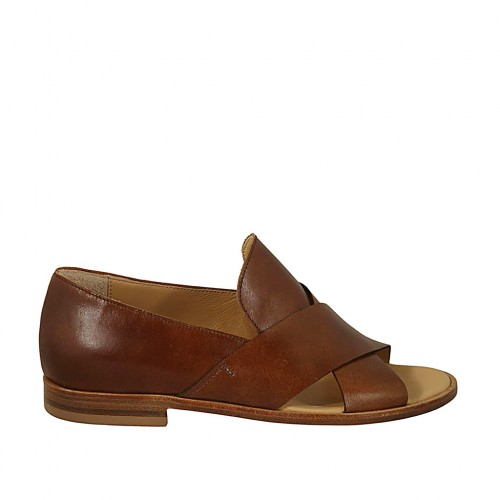 Woman's open shoe in tan brown leather heel 2 - Available sizes:  34