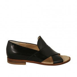 Woman's open shoe in black leather heel 2 - Available sizes:  34, 43, 44, 45