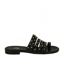 Woman's thong mules with studs in black leather heel 2 - Available sizes:  33, 34, 42, 43, 44, 45