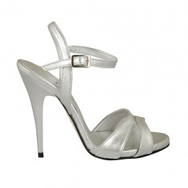 Woman's strap sandal with platform in silver laminated leather heel 11 - Available sizes:  33, 42, 43, 44