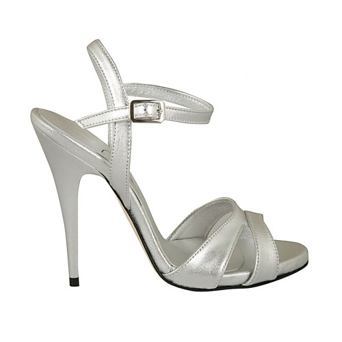 Woman's strap sandal with platform in silver laminated leather heel 11 - Available sizes:  33, 42, 43
