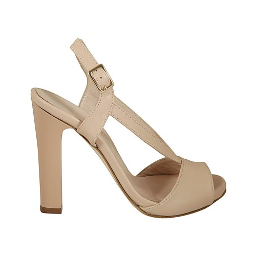 Woman's sandal with platform in nude leather heel 11 - Available sizes:  43
