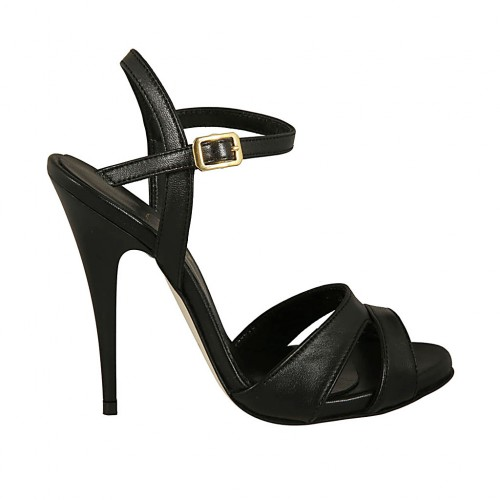 Woman's platform sandal with strap in black leather heel 11 - Available sizes:  43
