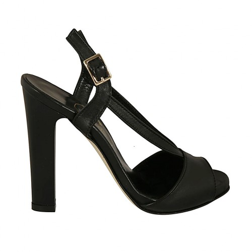 Woman's sandal in black leather with platform heel 11 - Available sizes:  34, 43