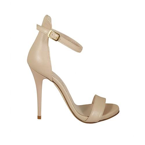 1486ac7d Zapato de salon abierto con plataforma y correa para mujer en piel color  desnudo perlado tacon