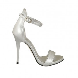 Woman's open pump with platform and strap in silver laminated leather heel 11 - Available sizes:  33, 43, 44, 45, 46