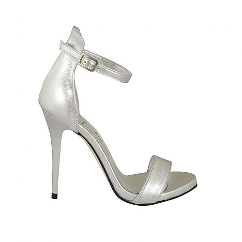 Woman's open pump with platform and strap in silver laminated leather heel 11 - Available sizes:  43, 44, 45