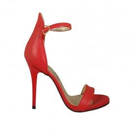 Scarpa aperta da donna con plateau e cinturino in pelle rossa tacco 11 - Misure disponibili: 33, 34, 42, 43, 44, 45