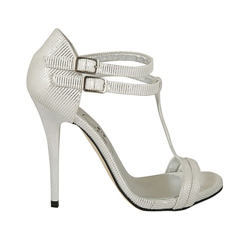Woman's open pump with t-straps in white and silver printed suede with platform and heel 11 - Available sizes:  34