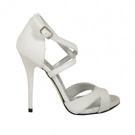 Woman's open shoe with crossed strap and platform in white leather heel 11 - Available sizes:  31, 33, 34, 43, 44, 45