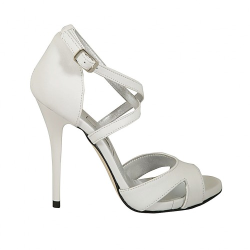 Woman's open shoe with crossed strap and platform in white leather heel 11 - Available sizes:  33, 34, 43, 44