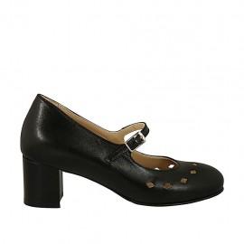 Escarpin pour femmes avec courroie, semelle amovible et trous en cuir noir talon carré 5 - Pointures disponibles:  43, 44