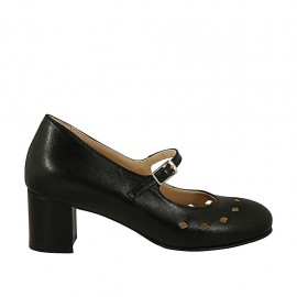 Zapato de salón para mujer con cinturon, plantilla extraible y agujeros en piel negra tacon cuadrado 5 - Tallas disponibles:  44