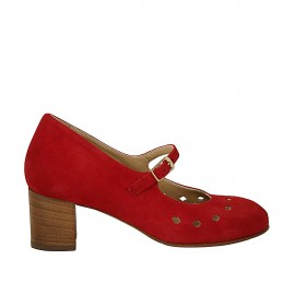 Woman's pump with strap, removable insole and holes in red suede block heel 5 - Available sizes:  32, 33, 34, 42, 43, 44, 45