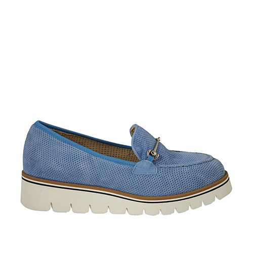 Woman's mocassin with accessory and removable insole in light blue pierced suede wedge heel 3 - Available sizes:  34, 45