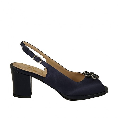 Woman's platform sandal with rhinestones in blue satin and patent leather heel 6 - Available sizes:  32