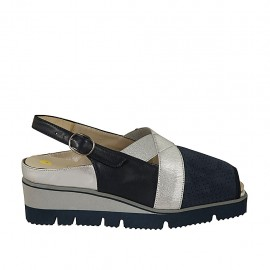 Woman's sandal with elastic bands and removable insole in blue pierced suede, blue and silver leather wedge heel 4 - Available sizes:  33, 34, 42, 43, 44