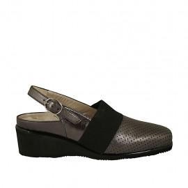 Chanel para mujer con elastico y plantilla extraible en piel perforada y laminada gris acero cuña 4 - Tallas disponibles:  33, 34, 42, 43, 44