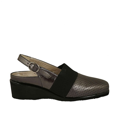 Woman's slingback pump with elastic band and removable insole in pierced and laminated steel grey leather wedge heel 4 - Available sizes:  33, 34, 42, 43, 44