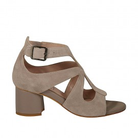 Woman's open strap shoe with buckle in grey suede and leather heel 5 - Available sizes:  33, 34, 42, 43, 44, 45